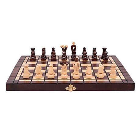 Hand Painted Polystone Chess Pieces - Chess and Checkers (Draughts) Set - Hand Crafted Wooden Pieces, Board with Storage 13,7