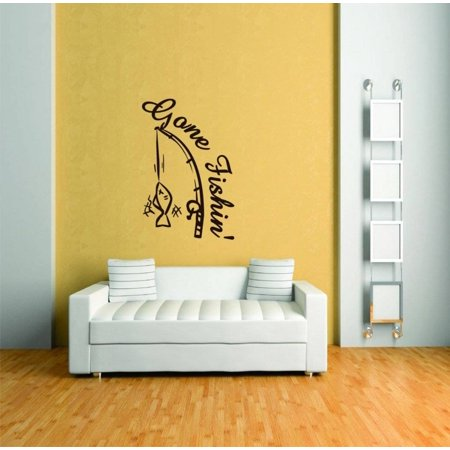 Custom Wall Decal Gone Fishing Animal Picture Art - Peel & Stick Vinyl Wall Decal Sticker 30x20
