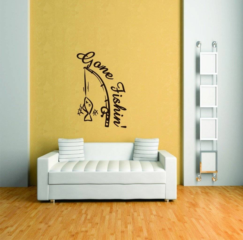 Gone Fishing Animal Picture Art - Peel & Stick Vinyl Wall Decal Sticker 30x20""