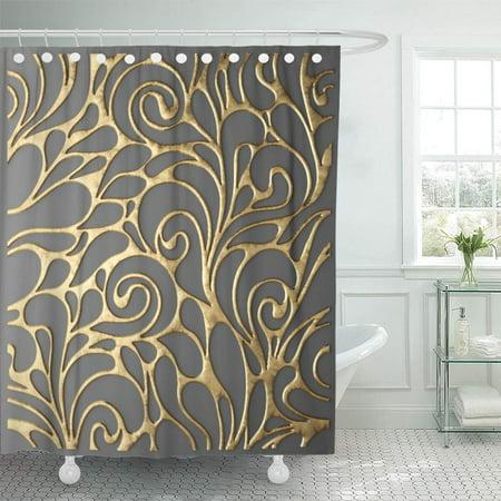 XDDJA Geometry Black Abstract 3D Render Gold Lattice Modern Geometric Shower Curtain 66x72 inch - image 1 de 1