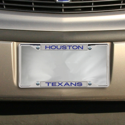 Houston Texans Team Silver Glitter Metal License Plate Frame - No Size