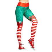 FITTOO Women Christmas Leggings for Sport Yoga Fitness Gym Pants High Waist Digital Print Long Snowman Ugly Trousers