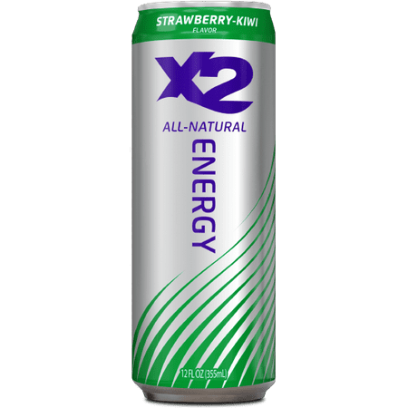 Energy Strawberry (X2 All Natural Energy Drink, Strawberry Kiwi, 12 count )