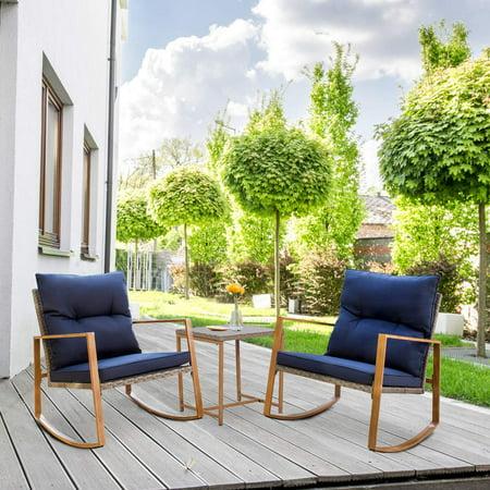 Suncrown Outdoor Rocking Chair Set 3 Piece Patio Bistro