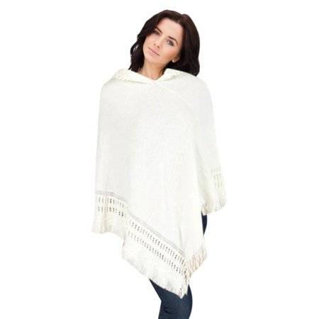 Hooded Knit Poncho with Fringe-Ivory - Hooded Knit Poncho