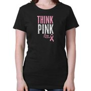 Breast Cancer Awareness Think Pink Ribbion Ladies Tee