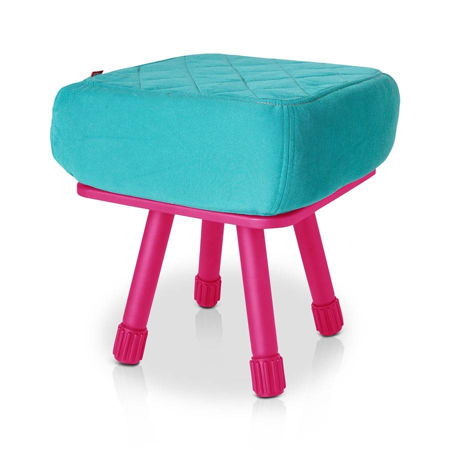 Krukski Stool in Aqua with Pink Tablitski Cushion