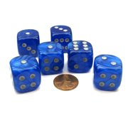 Chessex Velvet 20mm Big D6 Dice, 6 Pieces - Blue with Silver Pips #DL2026