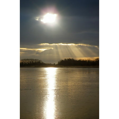 Sparkle Paper Cloud 9 Design (Canvas Print Dramatic Sun Sparkle Water Mirroring Lake Clouds Stretched Canvas 10 x 14)