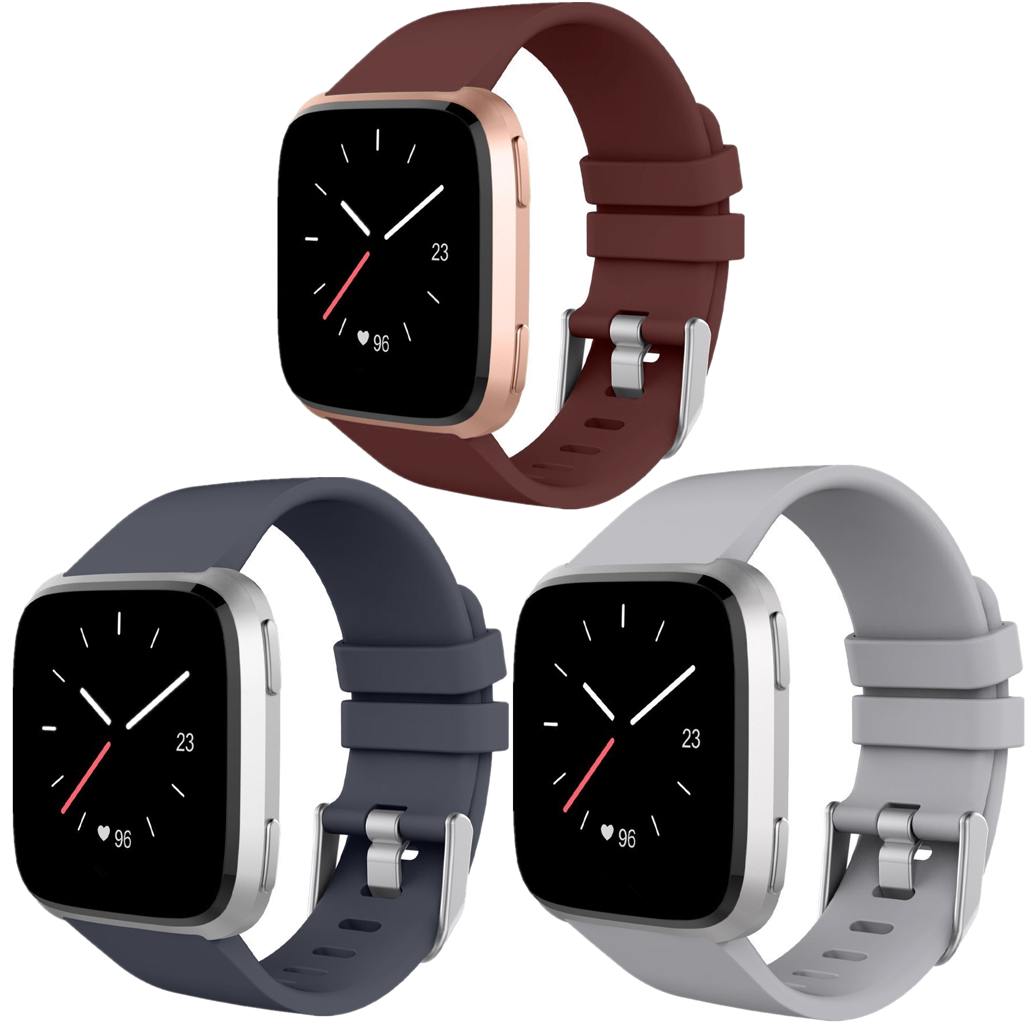 Moretek for Fitbit Versa Bands, Soft Silicone Bands Adjustable Sport Replacement Wristband Strap for Fitbit Versa Fitness Smart Watch(3Pack,Small)
