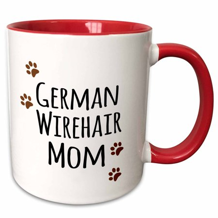 3dRose German Wirehair Dog Mom - Wirehaired Pointer - Doggie by breed - brown paw prints doggy lover mama - Two Tone Red Mug, 11-ounce](Red Paw)