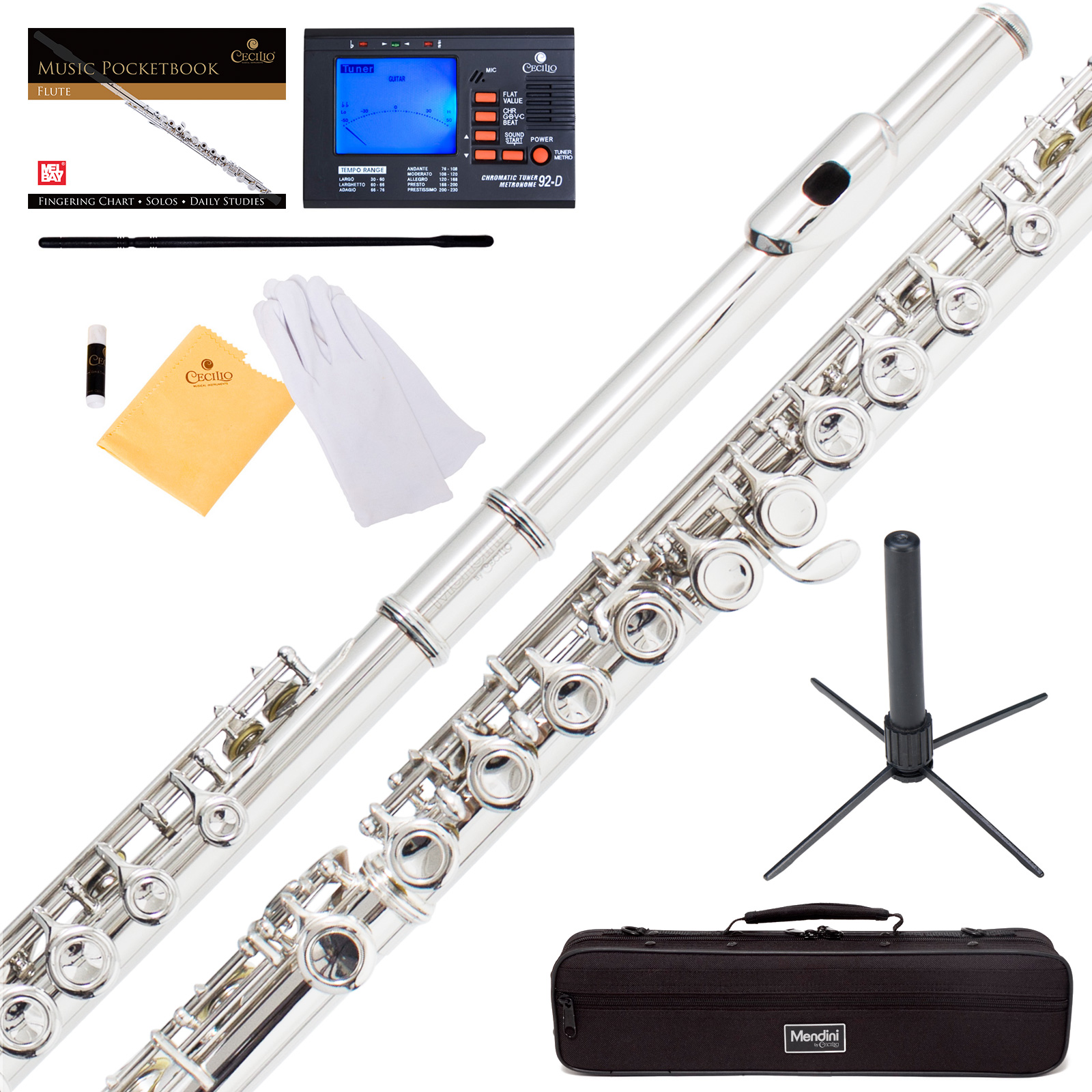 Mendini by Cecilio MFE-N Nickel Silver C Flute with Stand, Tuner, 1 Year Warranty, Case, Cleaning Rod, Cloth, Joint Grease, and Gloves