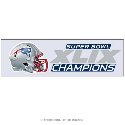 New England Patriots Official NFL 3 inch x 10 inch  Super Bowl 49 Champions Perfect Cut Car Decal by WinCraft