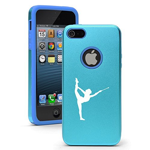 Apple iPhone 6 6s Shockproof AS Aluminum & Silicone Hard Soft Case Cover Female Gymnast Twirling Baton Gymnastics (Light Blue),Daylor
