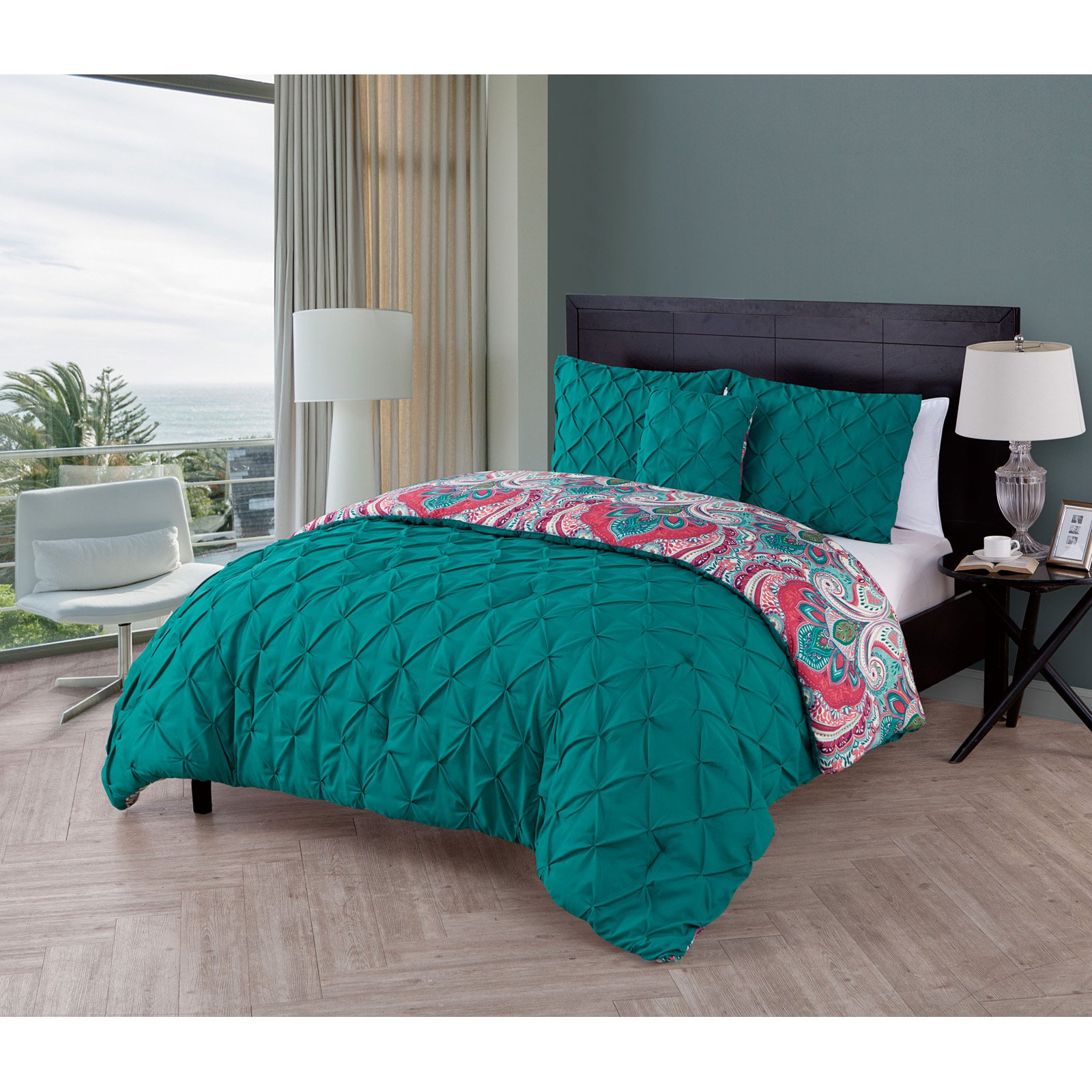 VCNY Home Maison Solid Pintuck Technique Reversible Paisley Damask Printed 4 Piece Bedding Comforter Set, Shams Included