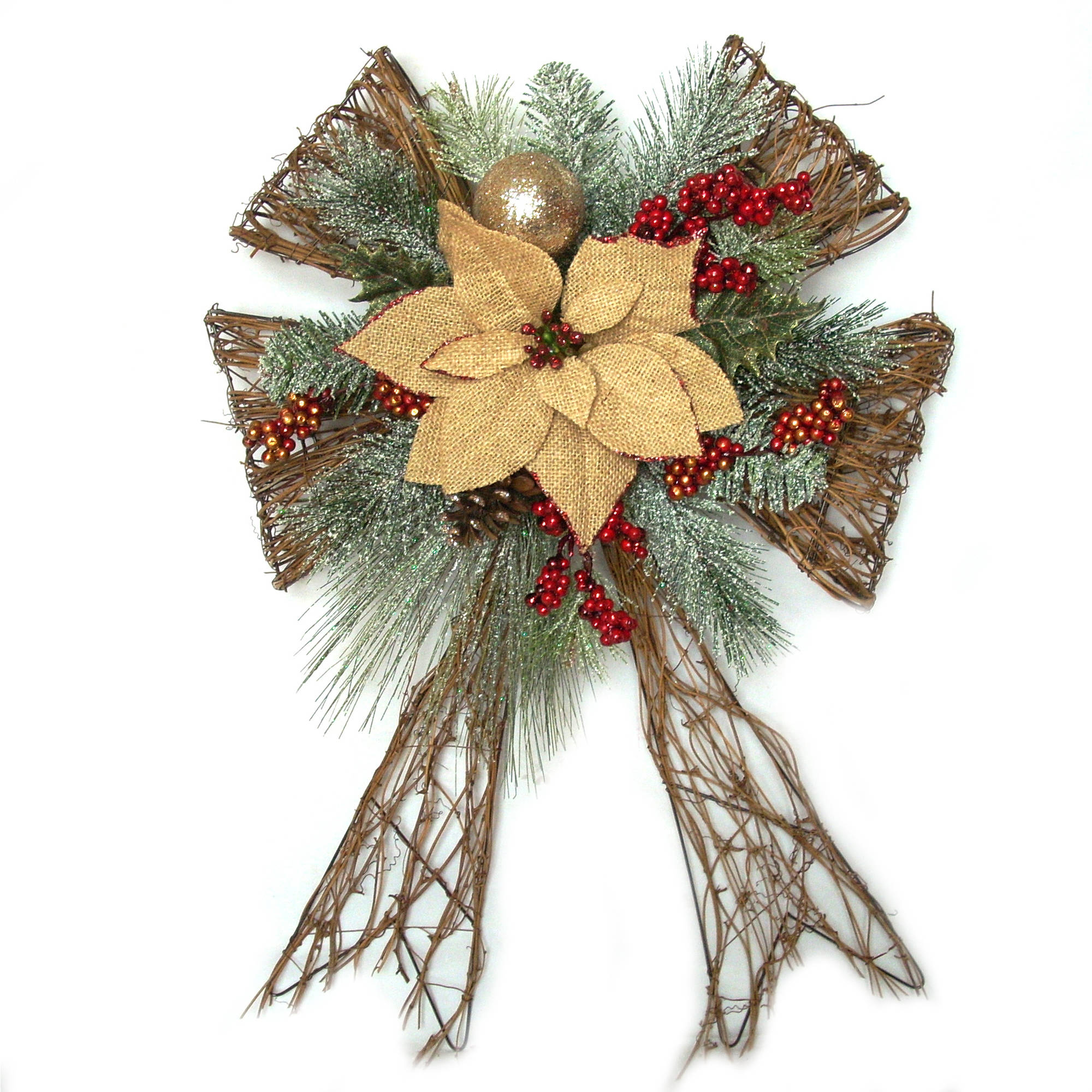 Holiday Time Christmas Decor Brown Poinsettia Bow