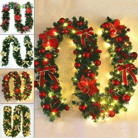 BadPiggies 8.9ft Unlit Christmas Garland Wreath Festive Holiday Decorations Ornaments Artificial Pine Green Garland for Outdoor Indoor ()