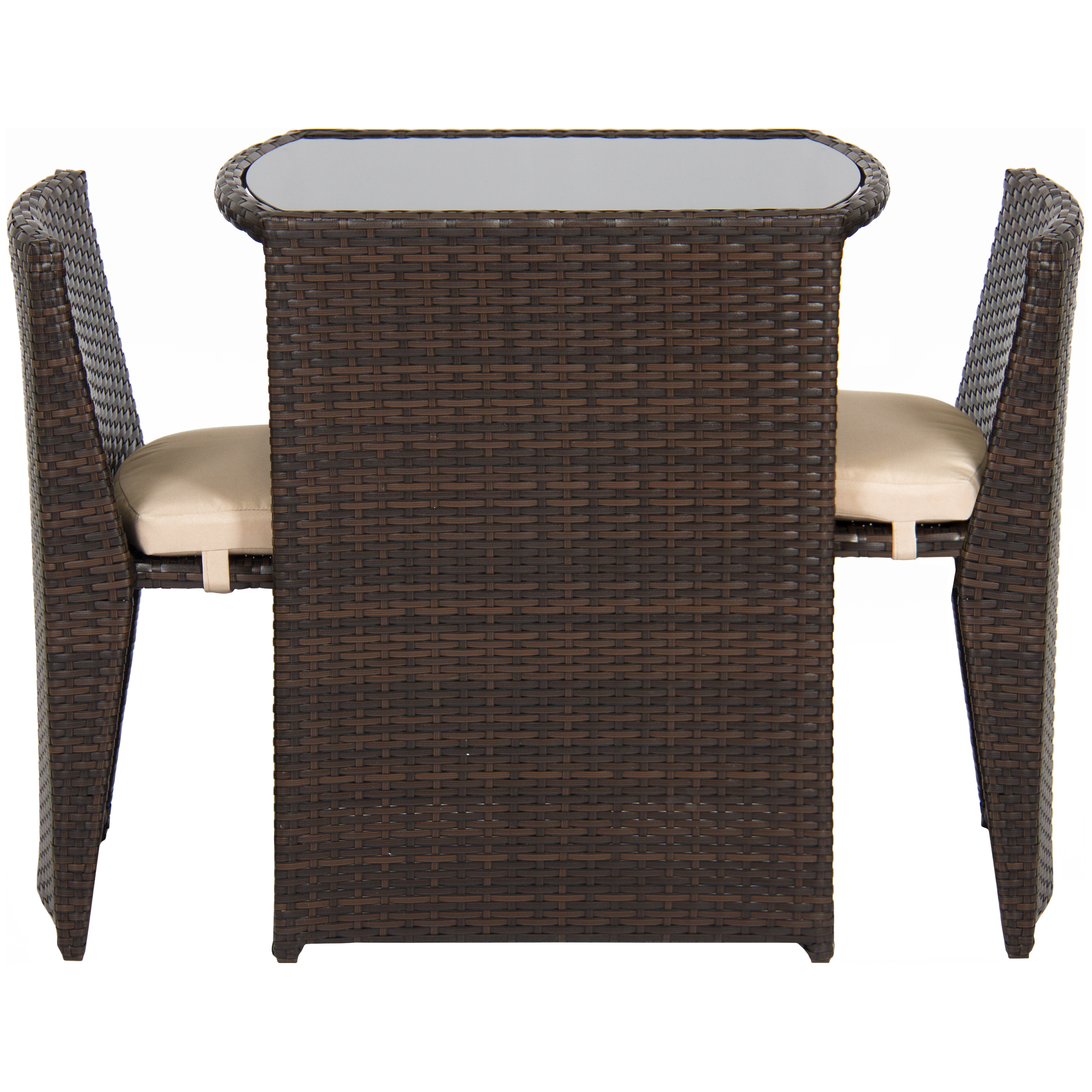 Best Choice Products Outdoor Patio Furniture Wicker 3pc Bistro Set W/ Glass  Top Table,