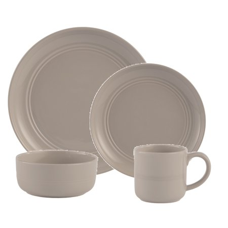 Safdie & Co. 16-Piece Stoneware Dinnerware Set, Grey, Ridge