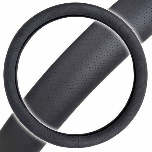 "Motor Trend Perforated PU Leather Steering-Wheel Cover, Standard Size 14.5""-15.5"" for Cars, SUVs, Vans and Trucks"