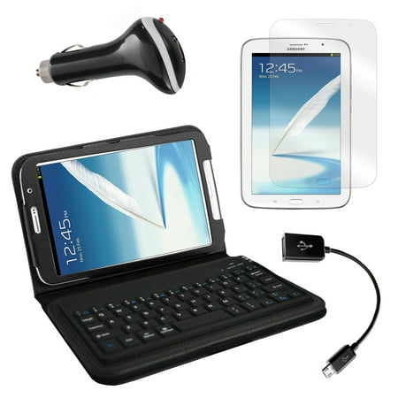 Bluetooth Keyboard Folio with Screen Protector, OTG Cable, and Car Charger for Samsung Galaxy Note 8