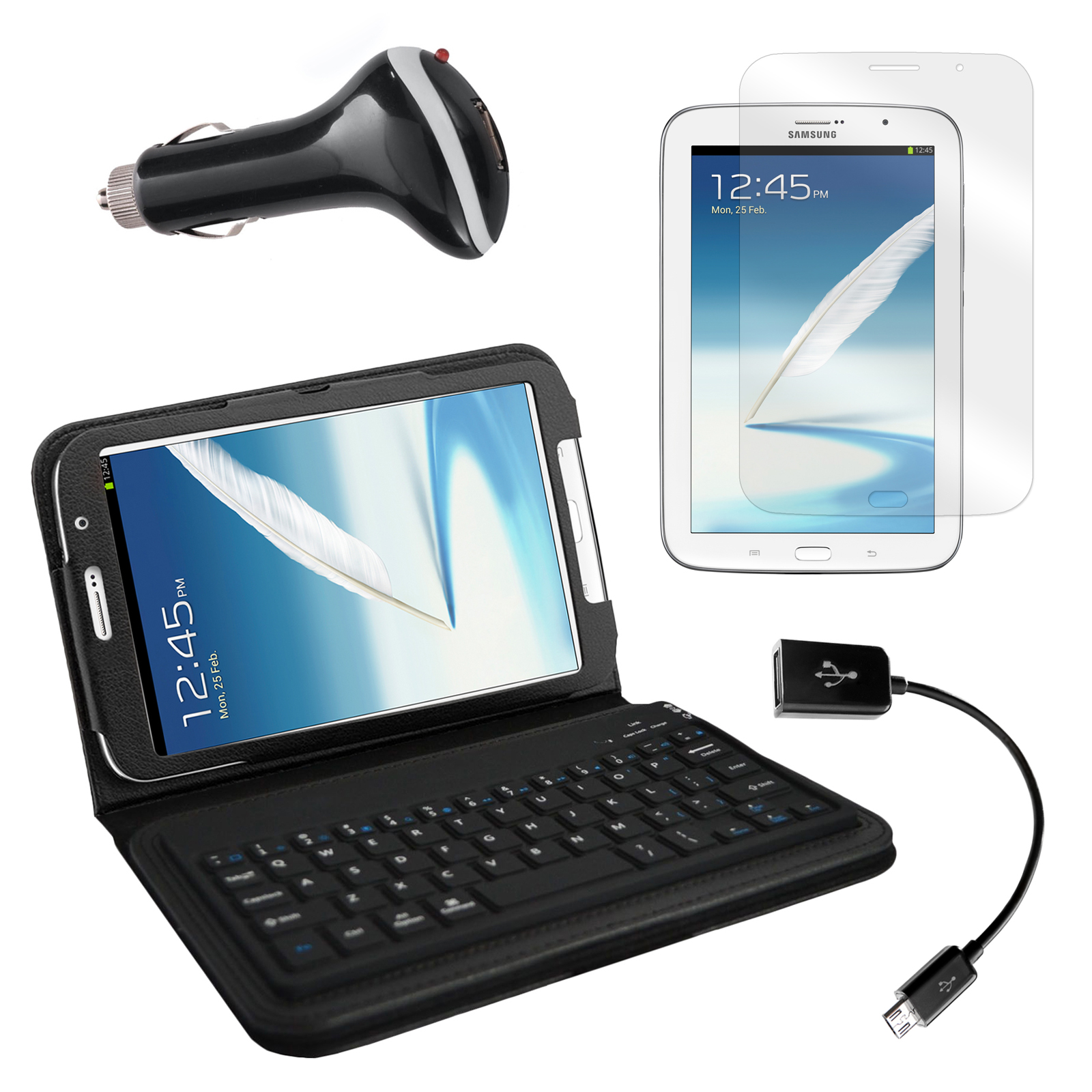 "Bluetooth Keyboard Folio with Screen Protector, OTG Cable, and Car Charger for Samsung Galaxy Note 8"" Tablet"