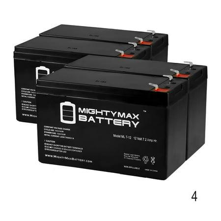 12V 7Ah Battery Replaces Keyscan CA8500 Access Control Unit - 4 Pack