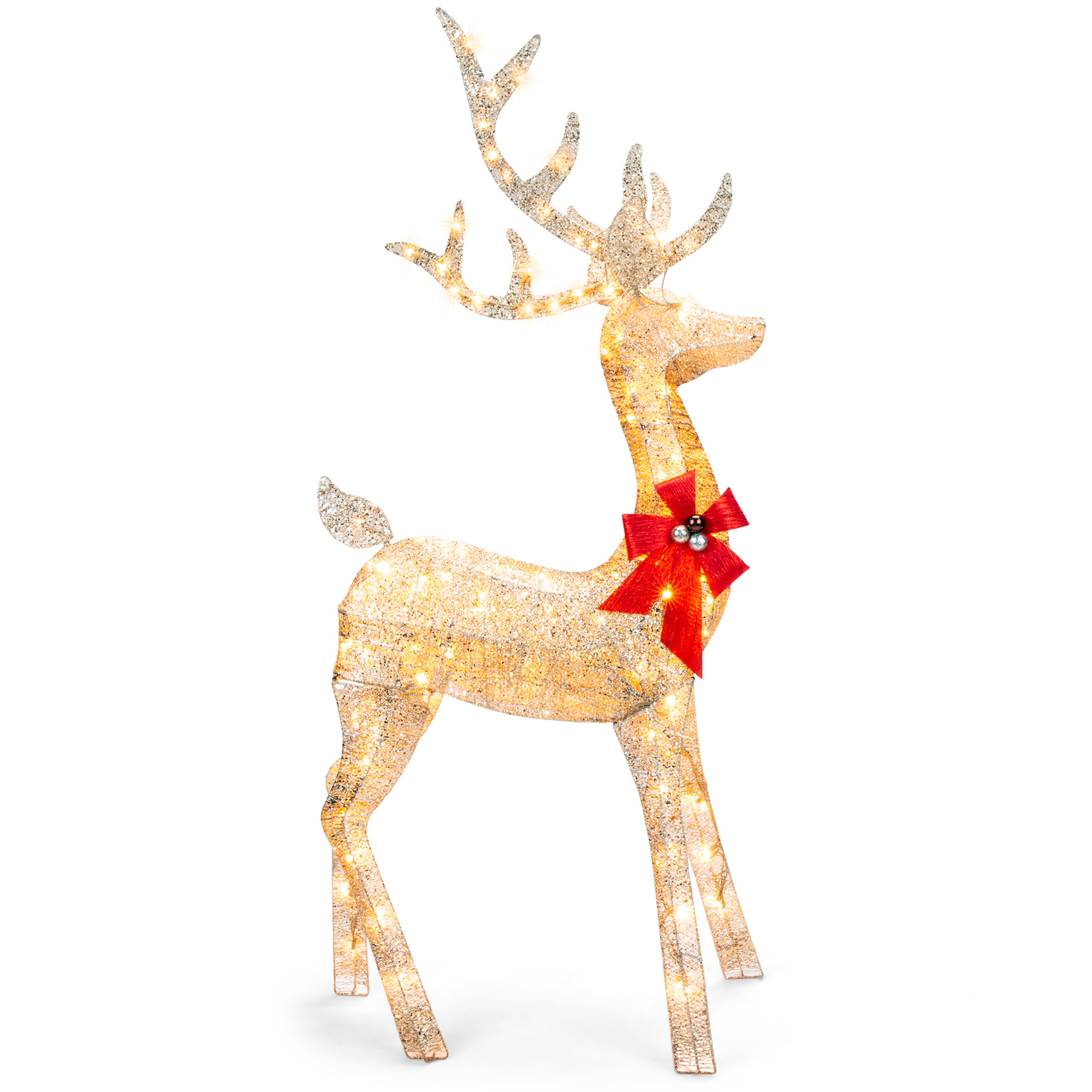 Best Choice Products 5ft 3d Pre Lit Gold Glitter Christmas Reindeer Buck Yard Decoration W 150 Lights Stakes Zip Ties Walmart Com Walmart Com
