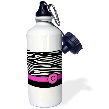 3dRose Letter C monogrammed black and white zebra stripes animal print with hot pink personalized initial, Sports Water Bottle, 21oz