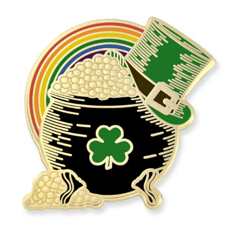 Pot of Gold Irish Top Hat Rainbow St. Patricks Day Enamel Lapel Pin