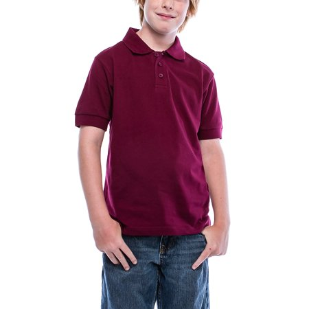 e63f9f77 Boys Big Boy's Short Sleeve 3 Button Plain Polo Shirts for Boys 1100-6-Burgundy  - Walmart.com