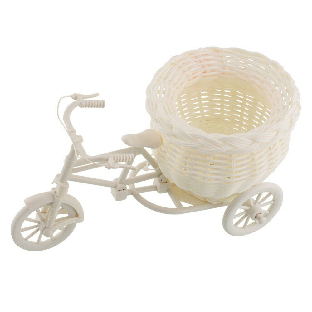 Plastic White Tricycle Bike Design Flower Basket Storage Party Decor 26cm VQ