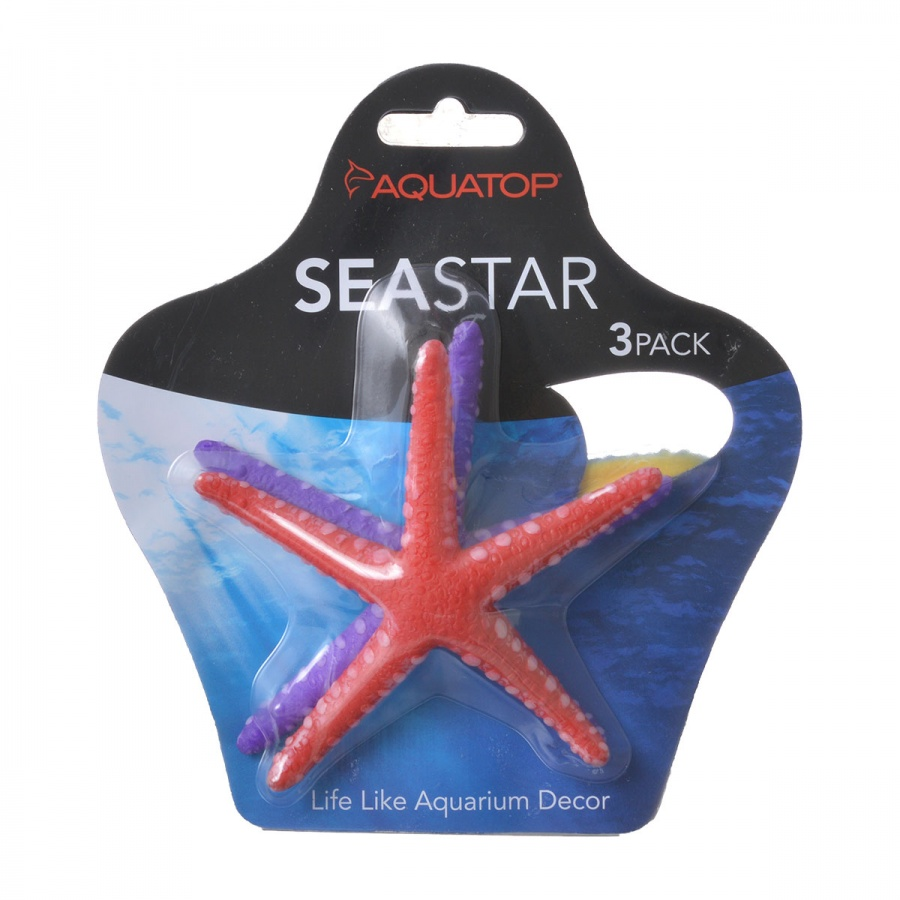 Aquatop Silicone Seastar Aquarium Ornament 3 Pack - (Assorted Colors) - Pack of 3