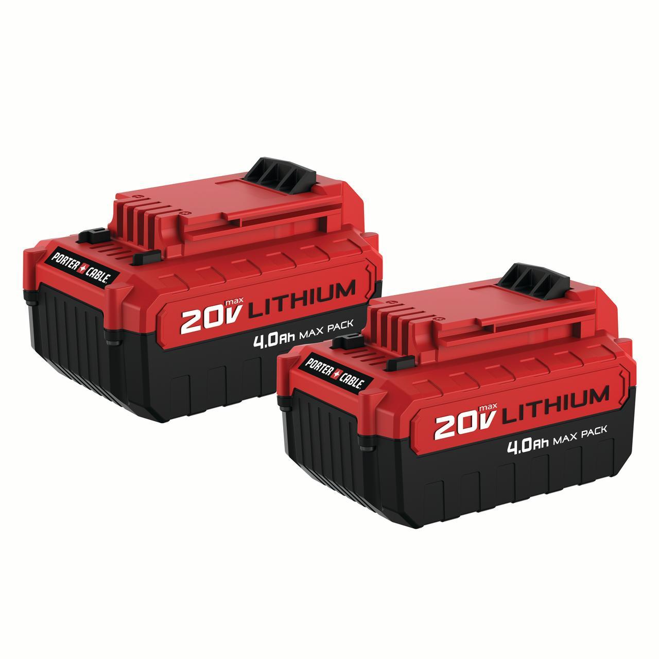 PORTER CABLE 20-Volt 4.0-Amp Max Lithium-Ion Batteries, 2-Pack, PCC685LP
