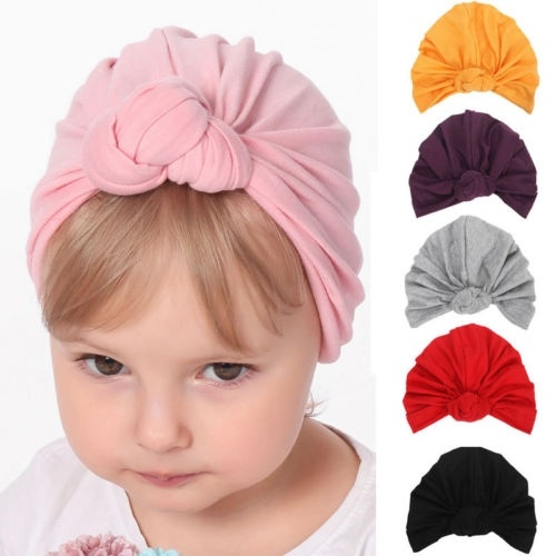 Cute Baby Girls Boys Bow Turban Hat Toddler Kids Head Wrap Headband Cap