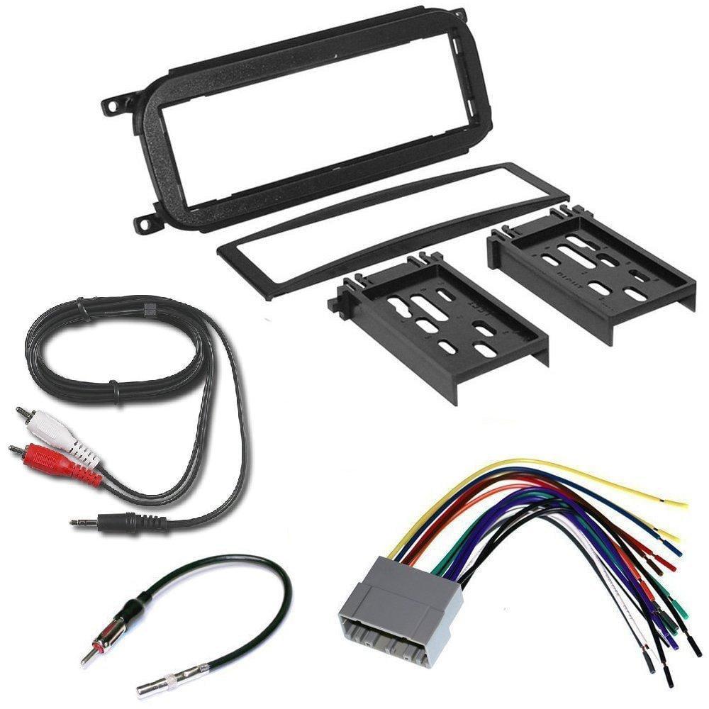 jeep 2002 - 2007 liberty car radio stereo cd player dash install mounting trim bezel panel kit + harness + radio harness+ mini to rca 6f cable