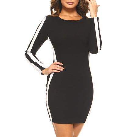Genx Womens Long Sleeve Casual Side Stripe Ribbed Knit Midi Dress