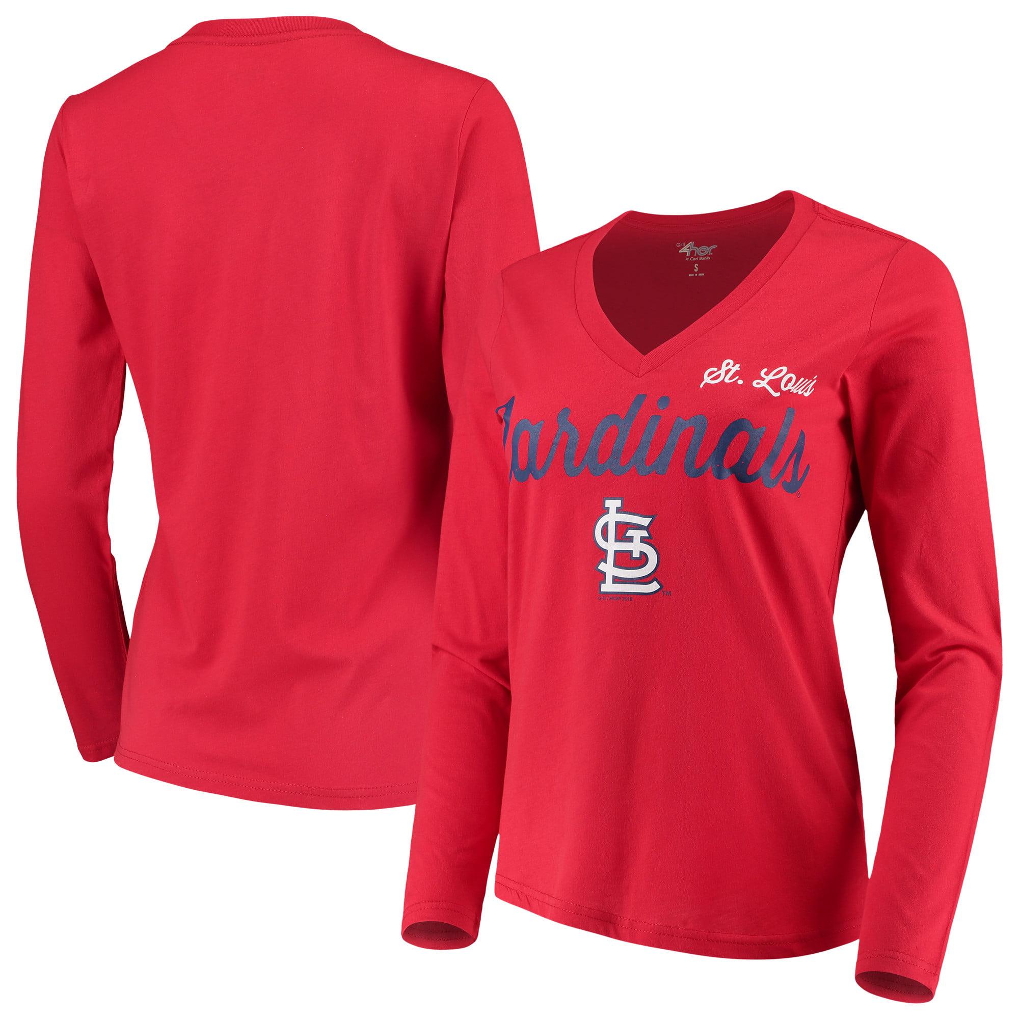 St. Louis Cardinals G-III 4Her by Carl Banks Women's Preseason Long Sleeve V-Neck T-Shirt - Red