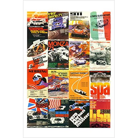 Vintage Race Car Mag Covers Poster Sporty Colorful Stylish Famed 24X36