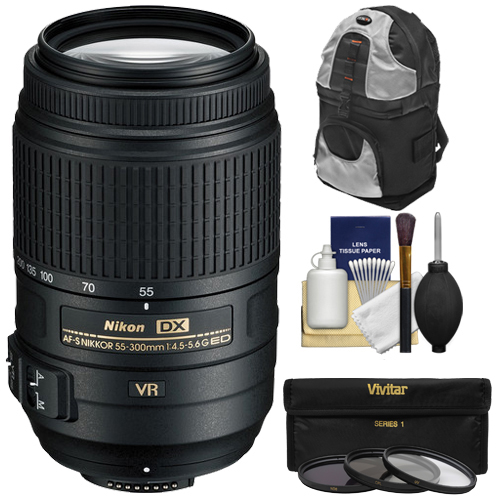 Nikon 55-300mm f/4.5-5.6G VR DX AF-S ED Zoom-Nikkor Lens with Backpack + 3 UV/CPL/ND8 Filters Kit for D3200, D3300, D5300, D5500, D7100, D7200 Camera