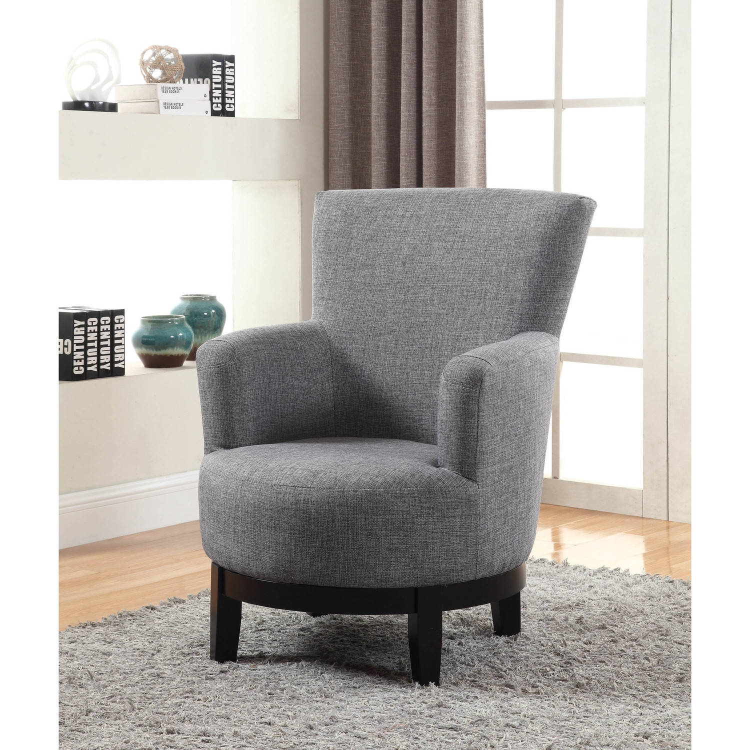 Nathaniel Home Dominic Swivel Accent Chair, Grey