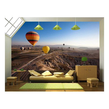 wall26 - Inspiring Beautiful Landscape with Hot Air Balloons - Removable Wall Mural | Self-Adhesive Large Wallpaper - 66x96 inches Air Force Wallpaper