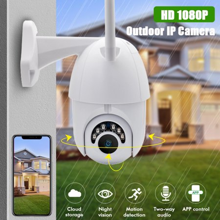 Smart Indoor Outdoor Wireless Vandal-Proof IP PTZ Camera, HD 1080P WiFi Pan Tilt Zoom Security Camera with IP66 Weatherproof SD Card Slot Night Vision Work for IOS, Android or - Zoom Wireless Network Camera