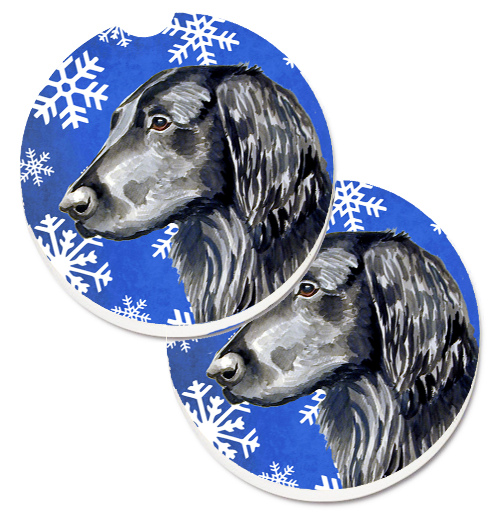 Flat Coated Retriever Winter Snowflakes Holiday Set of 2 Cup Holder Car Coasters LH9276CARC
