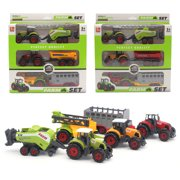 Farfi Mini Diecast Farm Tractor Vehicle Car Carriage Model Set Collection Kids Toy