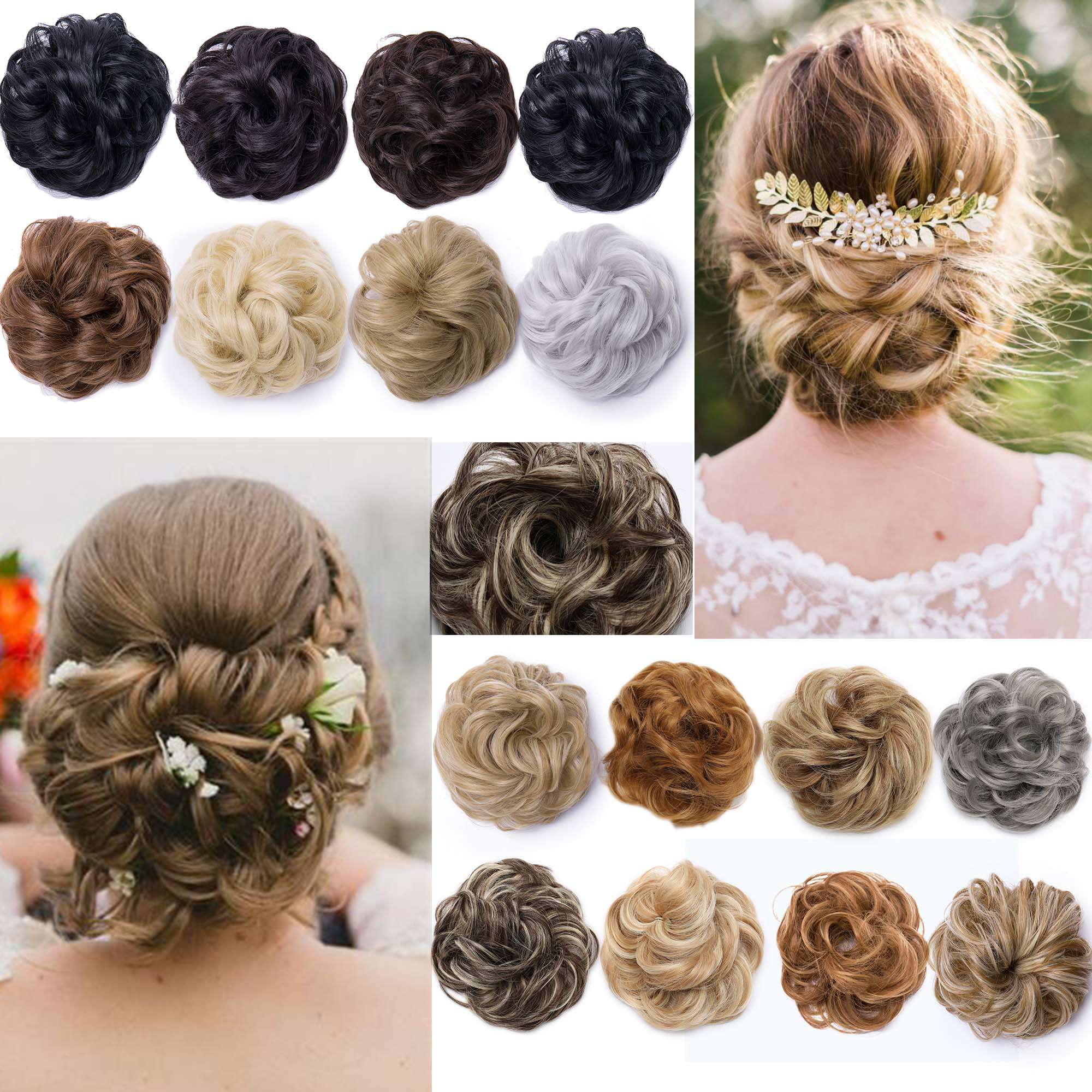 S-noilite Women Hair Pieces Messy Hair Scrunchie Fake Hair Bun Extensions  Wigs Hair Chignons medium brown 9da305f83