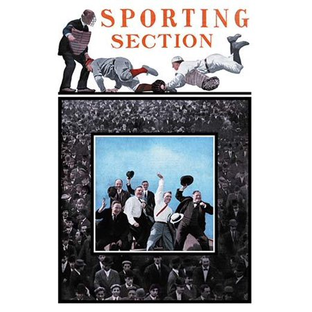 Cover art to a newspaper section on sports featuring a picture of baseball players and huge crowds Poster Print by