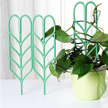 Pot Support (3PC Mini Climbing Plant Pot Garden Trellis Support Leaf Trellis Green 3.9*14)