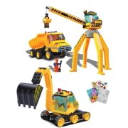 BRICTEK 14004 Construction Crane, Truck, 14007 Excavator 387 pcs Building Blocks (Compatible with Legos) + Coloring Acti
