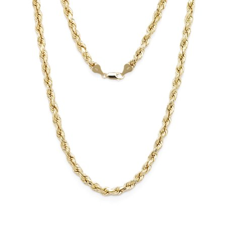Floreo 10k Yellow Gold Diamond Cut Hollow Rope Chain Necklace with Lobster Claw Clasp for Men & Women, (White Gold Claw)